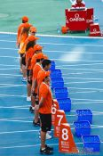 Travel photography:Helpers at the start of the 100m Semi-final, Spain