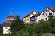 Travel photography:Houses in the Upper town in Bregenz , Austria