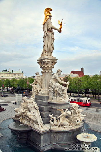 The Pallas Athene fountain outside the parliament building in Vienna