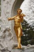 Travel photography:Sculpture of Johann Strauss II in Vienna´s city park , Austria