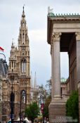 Travel photography:Vienna city hall (left) with Votivkirche (back) and parliament (right), Austria
