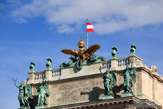 Imperial eagle and crown above the Neue Burg in Vienna´s Hofburg neue Burg eagle