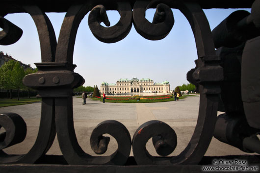 Belvedere palace viewed through cast iron gate