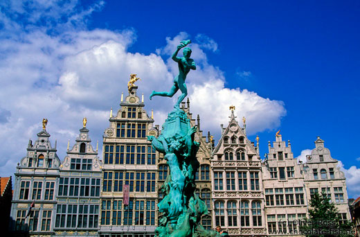 Antwerp Brabo statue with houses