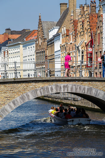 Bridge across canal in Bruges