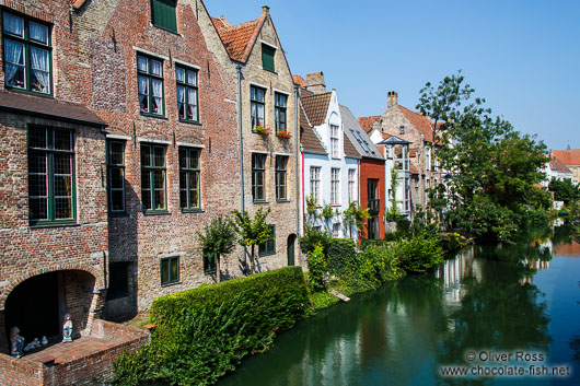 Houses along a canal in Bruges
