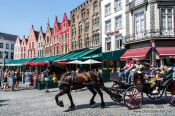 Travel photography:Horse carts carry tourists through Bruges, Belgium