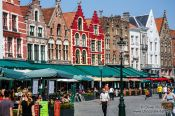 Travel photography:Houses along the main (market) square in Bruges, Belgium