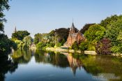 Travel photography:House along a lake in Bruges, Belgium