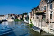 Travel photography:Ghent canal with houses, Belgium