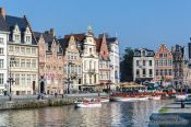 Travel photography:Ghent Graselei canal with houses, Belgium
