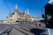 Travel photography:Ghent Old Post Office with tram, Belgium