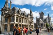 Travel photography:Ghent Old Post Office, Saint Nicholas Church, and Belfry tower, Belgium
