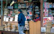 Travel photography:Book seller and phone booth in La Paz, Bolivia