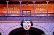 Travel photography:Figurehead in the courtyard of the Casa Real de la Moneda Museum, Potosi, Bolivia