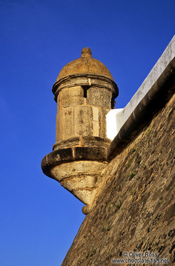Facade detail on the Farol da Barra fortress in Salvador