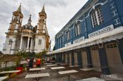 Travel photography:The Catedral de São Sebastião with famous Bar Vesuvio in Ilhéus, Brazil