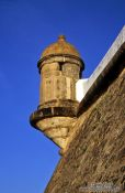 Travel photography:Facade detail on the Farol da Barra fortress in Salvador, Brazil