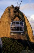 Travel photography:View of a gondola coming from the Pão de Açúcar (Sugar Loaf) in Rio, Brazil