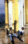 Travel photography:Two boys playing with their mobile phones, Ouro Preto, Brazil