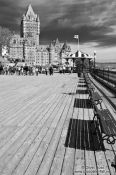 Travel photography:Quebec´s Château Frontenac castle with Terrasse Dufferin promenade , Canada
