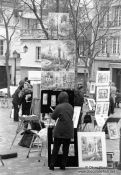 Travel photography:Painters in Montmartre in Paris, France