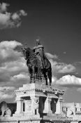 Travel photography:Statue of King Stefan I in the Fisherman´s Bastion at Budapest castle, Hungary
