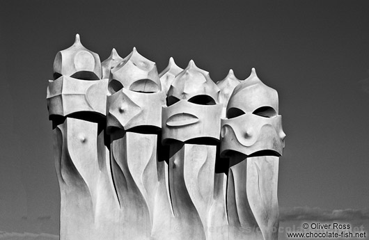 Sculptures on top of La Pedrera in Barcelona