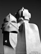 Travel photography:Sculptures on top of La Pedrera in Barcelona, Spain
