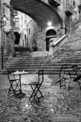 Travel photography:Small square in Girona`s historic old town, Spain
