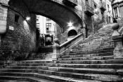 Travel photography:Stairs in Girona`s historic old town, Spain