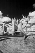 Travel photography:The Tower Bridge in London with fountain, United Kindom, England