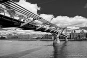 Travel photography:The London Millennium Bridge with St Paul´s Cathedral and River Thames, United Kindom, England