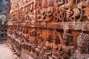 Travel photography:Facade detail at the terrace of the Leper King at Angkor Thom , Cambodia