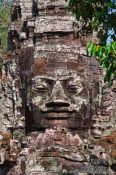 Travel photography:Stone face above the North Gate at Angkor Thom, Cambodia