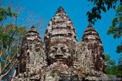 Travel photography:Faces atop the North Gate in Angkor Thom, Cambodia