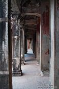 Travel photography:Columns inside Angkor Wat , Cambodia