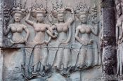 Travel photography:Relief with women inside Angkor Wat , Cambodia