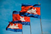 Travel photography:Cambodian flags in Phnom Penh , Cambodia