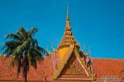 Travel photography:Roof detail of the Royal Palace in Phnom Penh, Cambodia