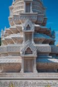 Travel photography:Facade detail of the Sancturay of Princess Norodom Kantha Bopha at the Phnom Penh Royal Palace grounds, Cambodia
