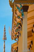 Travel photography:Facade detail of Wat Ohnalom temple in Phnom Penh, Cambodia