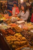 Travel photography:Food stall at the Phnom Penh night market , Cambodia