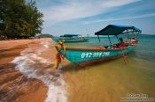 Travel photography:Boat anchored at Kaoh Ruessel (Bamboo Island) near Sihanoukville, Cambodia