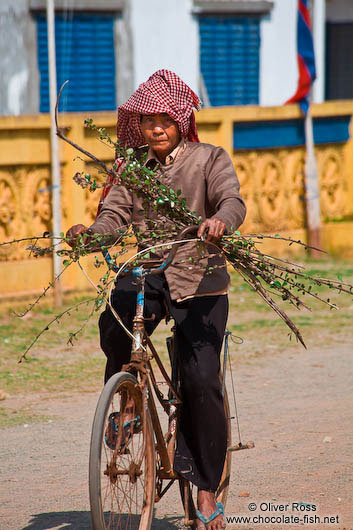 Man on bike near Odonk (Udong)