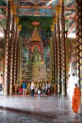 Travel photography:Giant green Buddha statue inside a temple at the Vipassara Dhara Buddhist Centre near Odonk (Udong), Cambodia