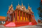 Travel photography:Candy-coloured temple near Odonk (Udong) , Cambodia
