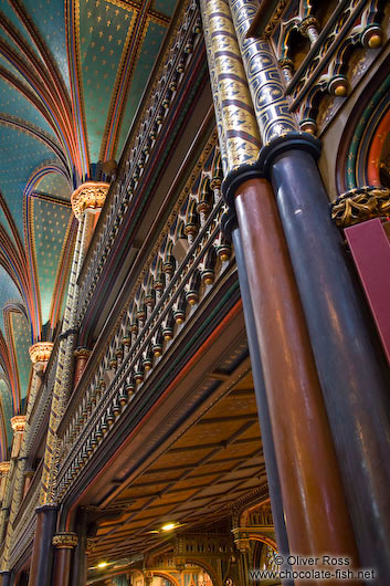 Wooden architecture of the Basilica de Notre Dame cathedral in Montreal