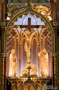 Travel photography:Close-up of the main altar inside the Basilica de Notre Dame cathedral in Montreal, Canada