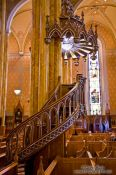 Travel photography:Wooden pulpit inside the Saint Patricks basilica in Montreal, Canada
